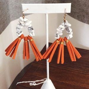 Orange Tassel Earrings 🧡